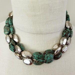 Jewelry - 3 strand choker necklace antiqued patina finish